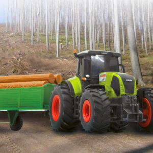 CLAAS RC Axion 850 1:28 w. wood trailer